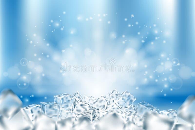 Fondo ghiacciato astratto dei cubi Ghiaccio e neve astratti nella progettazione blu-chiaro del manifesto, illustrazione 3d royalty illustrazione gratis