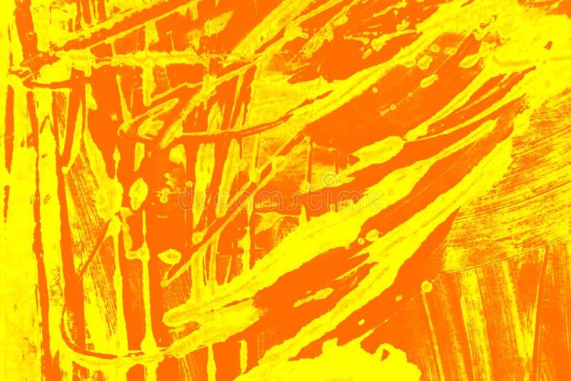 Fondo giallo arancio dei colpi del pennello fotografia stock libera da diritti