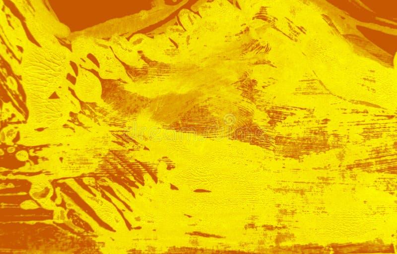 Fondo giallo arancio dei colpi del pennello immagine stock