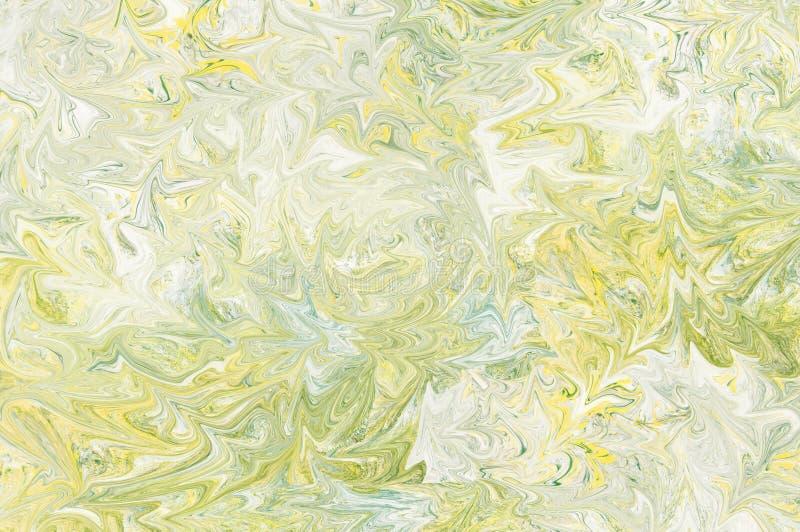Fondo giallo, blu-chiaro e verde, grigio dell'estratto della pittura Liquido ed onda che guardano struttura immagini stock libere da diritti