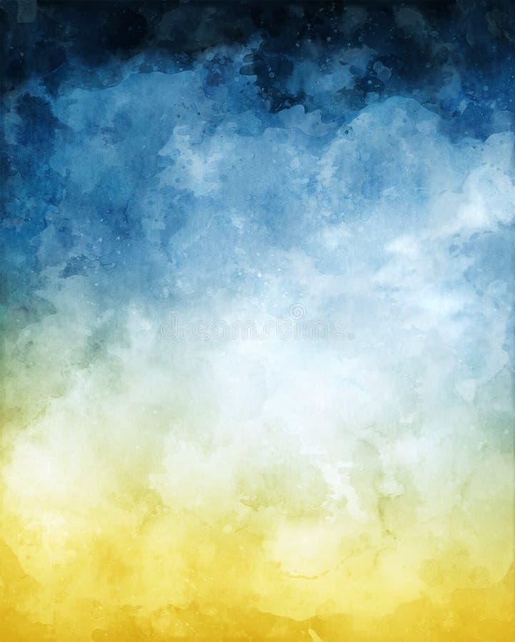 Fondo giallo blu dell'estratto dell'acquerello fotografia stock