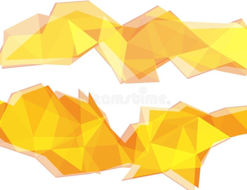 Fondo giallo-chiaro ed arancio dell'estratto del poligono royalty illustrazione gratis