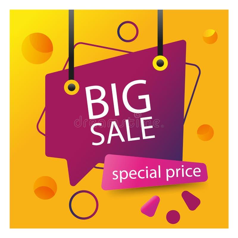 Fondo giallo con l'etichetta porpora Progettazione del modello dell'insegna di vendita di prezzi speciali Offerta speciale di gra illustrazione vettoriale