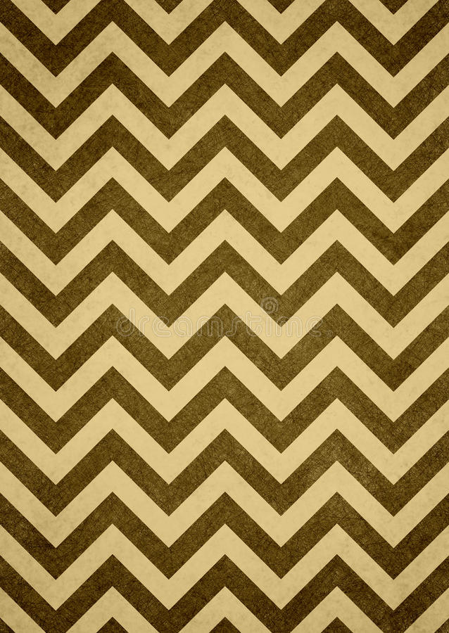 Fondo giallo del modello di zigzag del gallone di Brown retro fotografia stock
