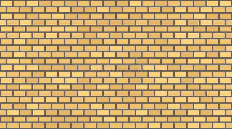Fondo giallo del muro di mattoni di vettore Muratura urbana di vecchia struttura Carta da parati d'annata del blocchetto di archi illustrazione di stock