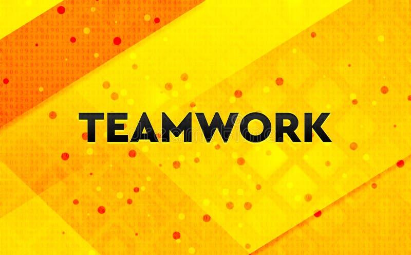 Fondo giallo dell'insegna digitale astratta di lavoro di squadra illustrazione vettoriale