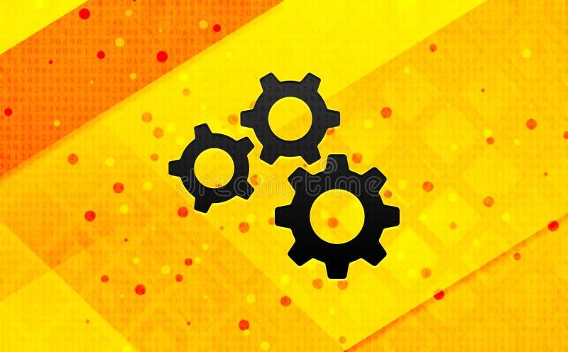 Fondo giallo dell'insegna digitale dell'estratto dell'icona degli ingranaggi delle regolazioni royalty illustrazione gratis