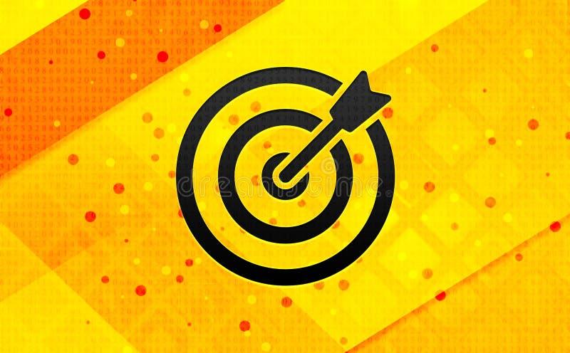Fondo giallo dell'insegna digitale dell'estratto dell'icona della freccia dell'obiettivo illustrazione di stock