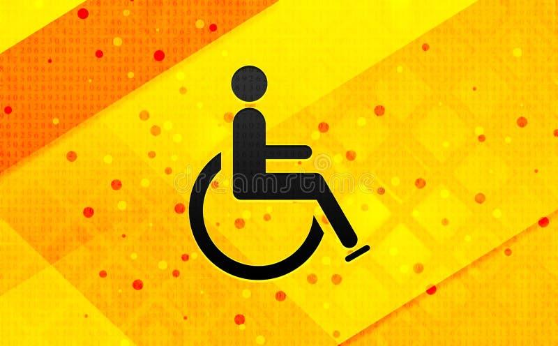 Fondo giallo dell'insegna digitale dell'estratto dell'icona di handicap della sedia a rotelle immagini stock