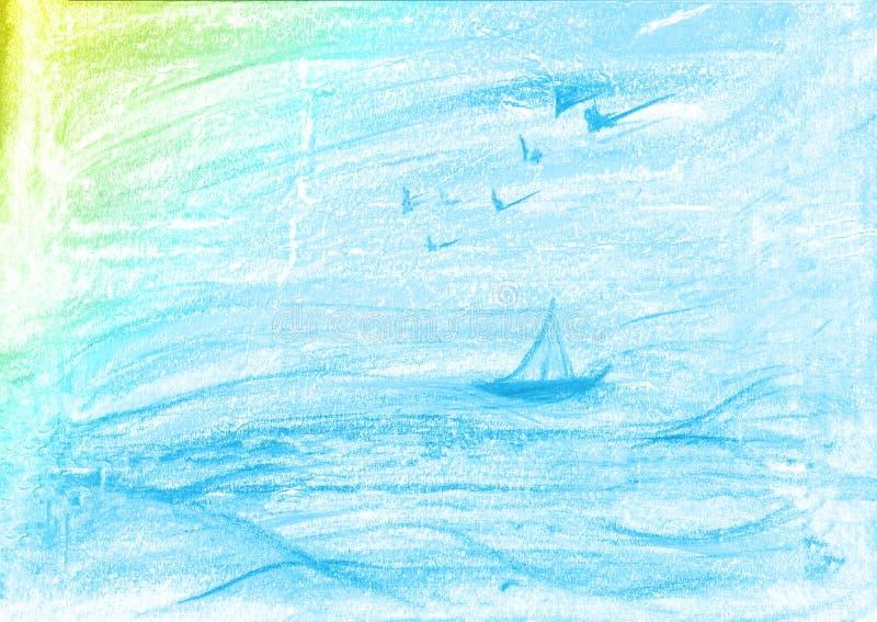 Fondo giallo e blu della pittura dell'acquerello, segnante schizzo con lettere dell'album per ritagli illustrazione di stock
