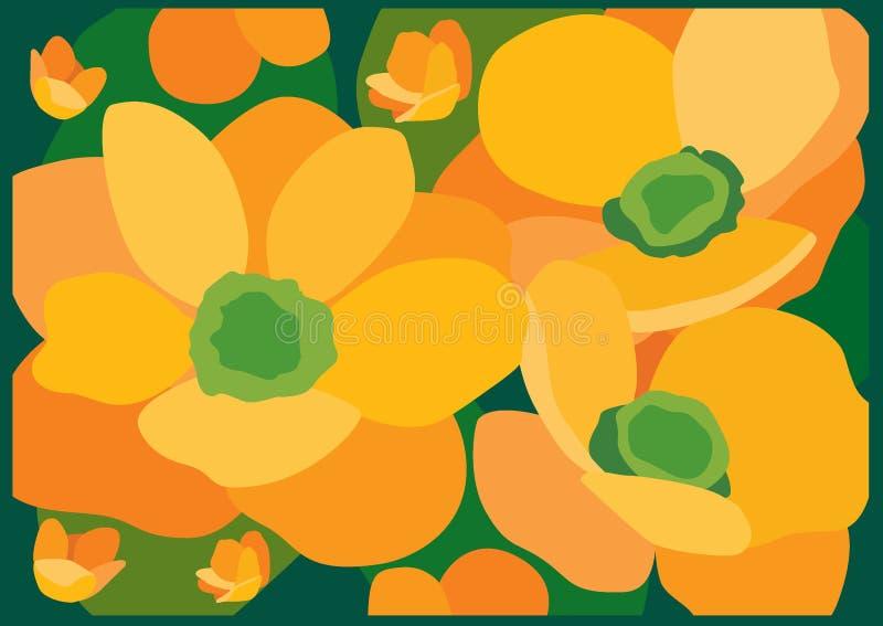 Fondo giallo e verde del fiore illustrazione di stock