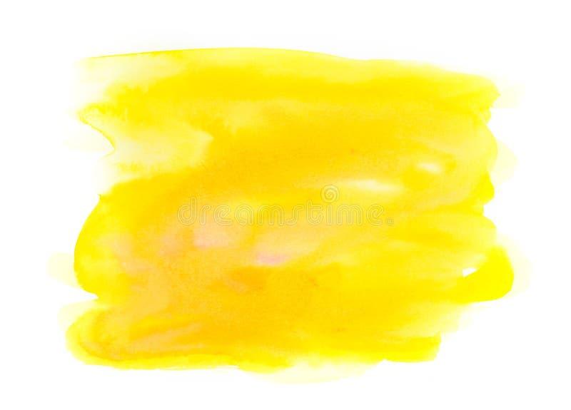 Fondo giallo luminoso astratto dell'acquerello isolato sulla b bianca immagini stock