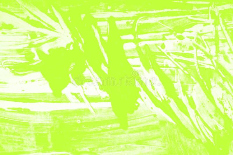 Fondo giallo verde bianco dei colpi del pennello immagini stock