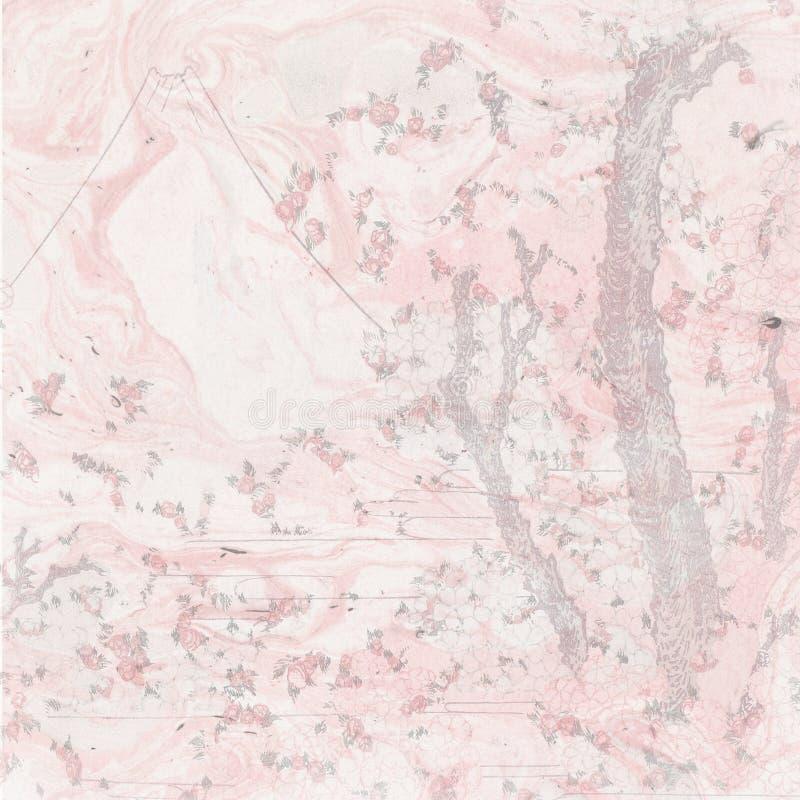 Fondo giapponese d'annata dell'acquerello - Cherry Blossom Trees - progettazione asiatica - Srapbooking - carta di Giappone royalty illustrazione gratis
