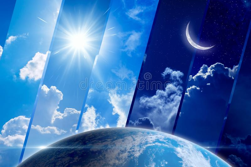Fondo, giorno e notte, sole e luna globali di previsioni del tempo fotografia stock