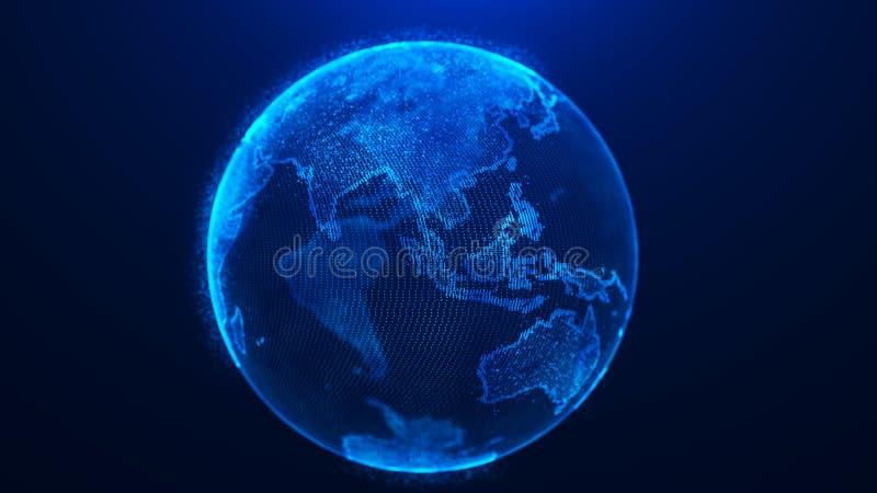 Fondo globale del pianeta Pianeta Terra della rete globale rappresentazione 3d Punto della mappa di mondo royalty illustrazione gratis