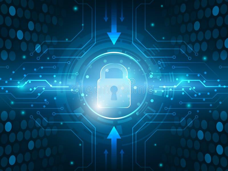 Fondo globale della rete dell'innovazione di sicurezza astratta di tecnologia illustrazione di stock