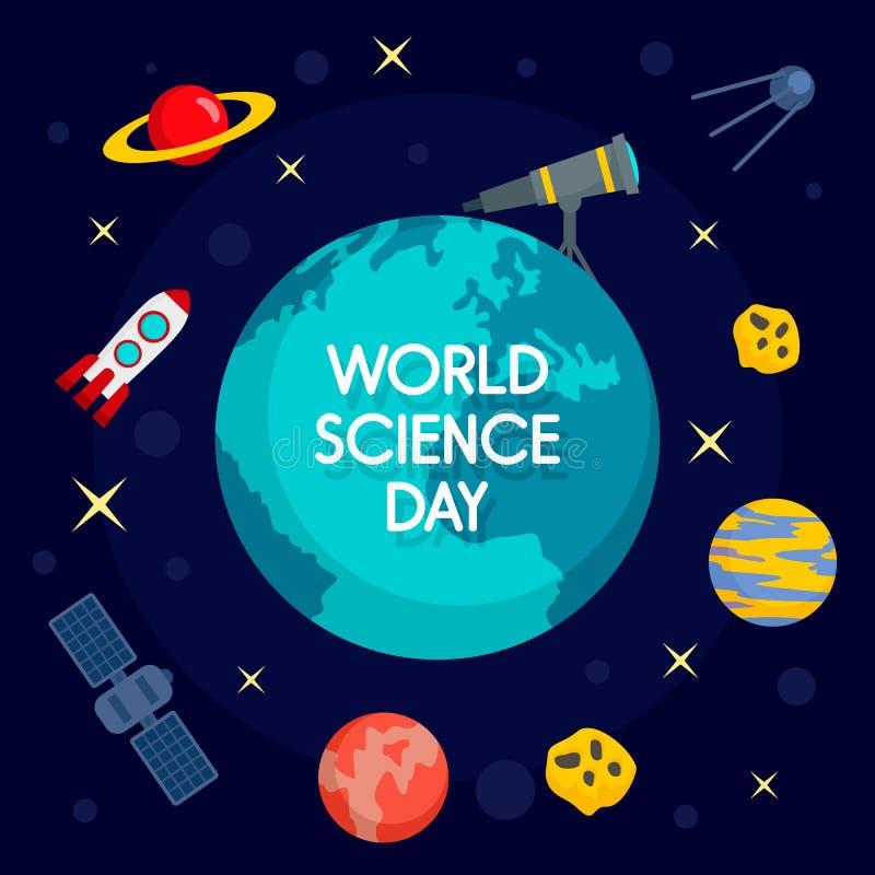 Fondo globale di concetto di giorno di scienza, stile piano illustrazione di stock
