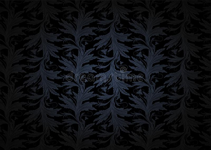 Fondo gotico d'annata in grigio scuro ed in nero con il modello barrocco floreale classico illustrazione di stock