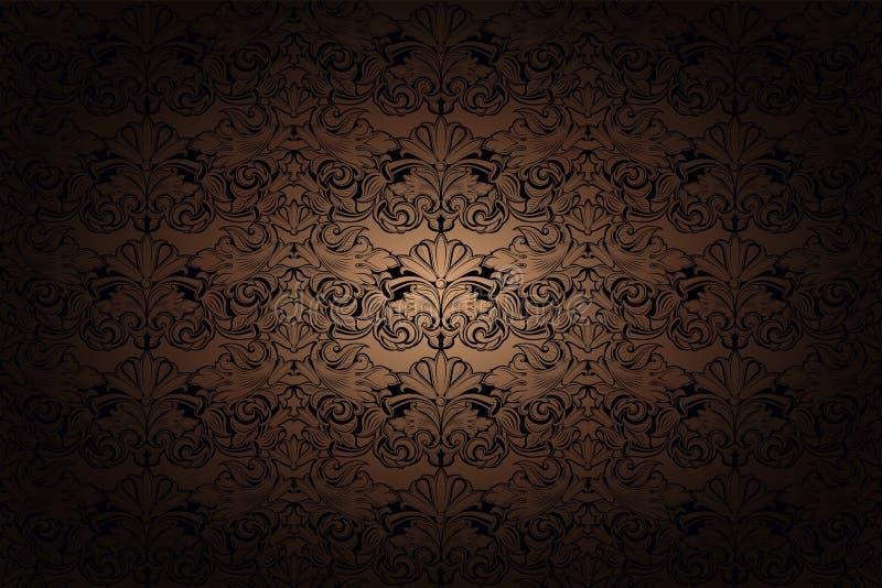 Fondo gotico d'annata in oro, in bronzo, in caramello, in cioccolato e nel nero illustrazione di stock