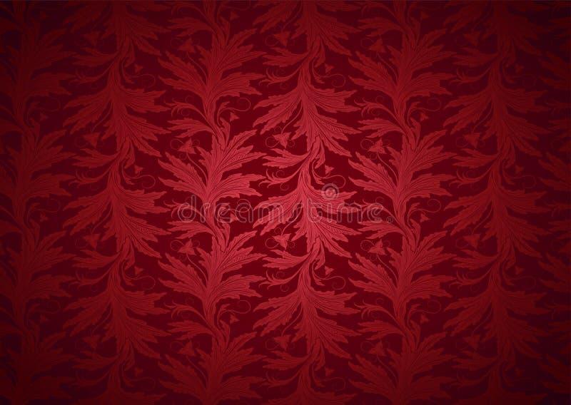 Fondo gotico e reale d'annata nel rosso con il modello barrocco floreale classico illustrazione vettoriale