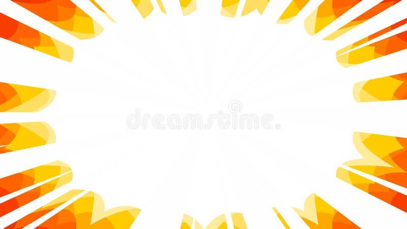 fondo gráfico de los rayos de la explosión del starburst de los rayos del manga en el fuego colourway libre illustration