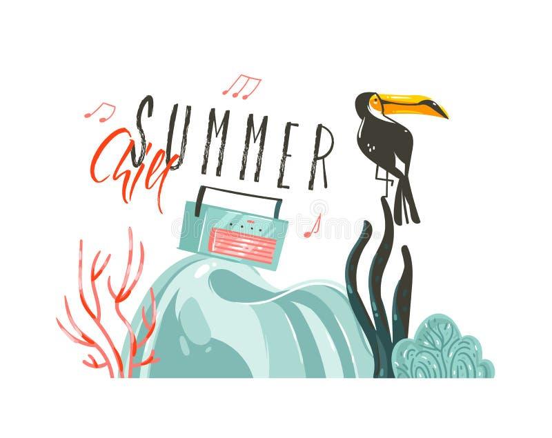 Fondo gráfico dibujado mano de la muestra del partido de la plantilla del arte de los ejemplos del tiempo de verano de la histori stock de ilustración