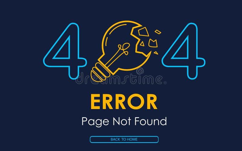 fondo gráfico roto lámpara no encontrado del vector de la página de 404 errores ilustración del vector
