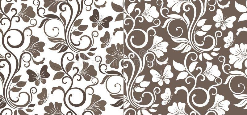 Fondo grafico senza cuciture di lusso con i fiori e le foglie in due variazioni Modello floreale di vettore royalty illustrazione gratis