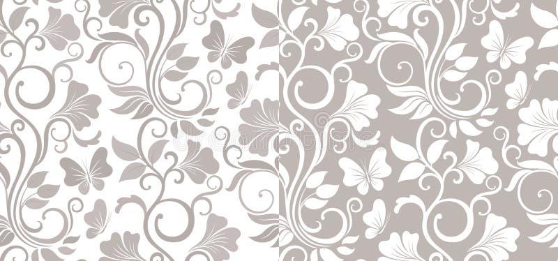 Fondo grafico senza cuciture di lusso con i fiori e le foglie in due variazioni Modello floreale di vettore illustrazione di stock