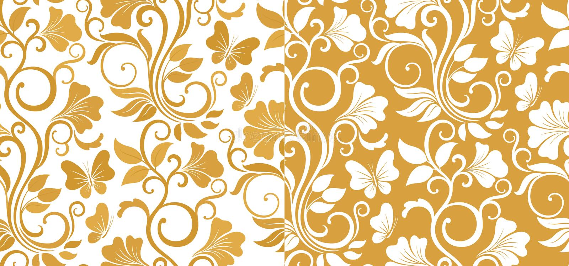 Fondo grafico senza cuciture di lusso con i fiori e le foglie in due variazioni Modello floreale di vettore illustrazione vettoriale