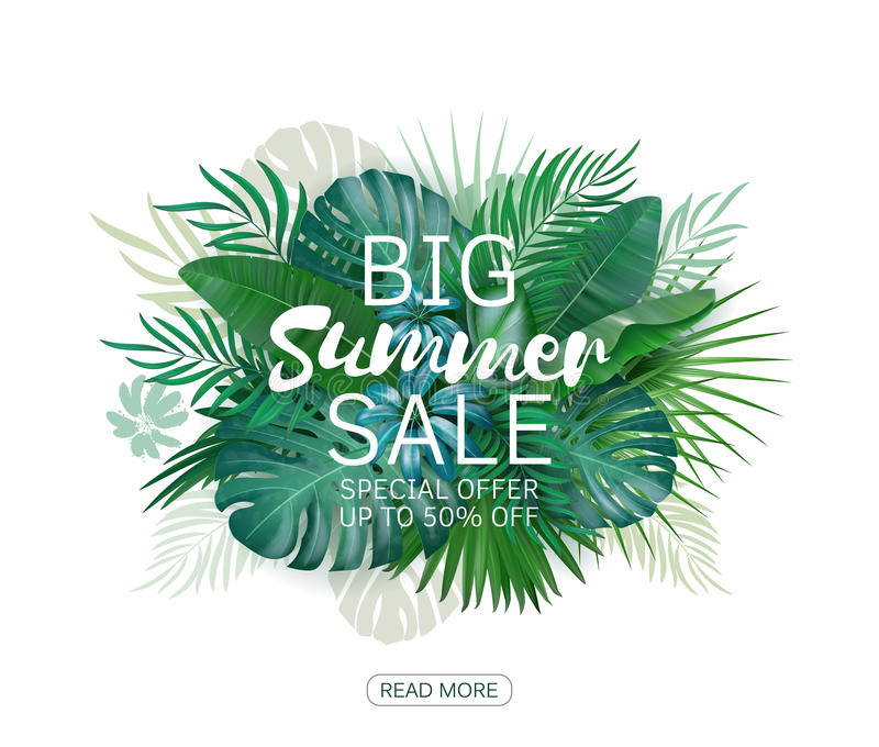 Fondo grande de la venta del verano con la palma Vector el fondo para la bandera, cartel, aviador, tarjeta, postal, cubierta, fol libre illustration