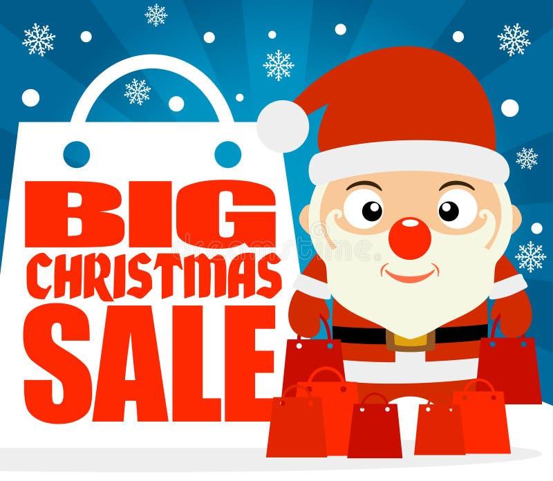 Fondo grande de la venta de la Navidad con el niño en el traje Santa Claus libre illustration