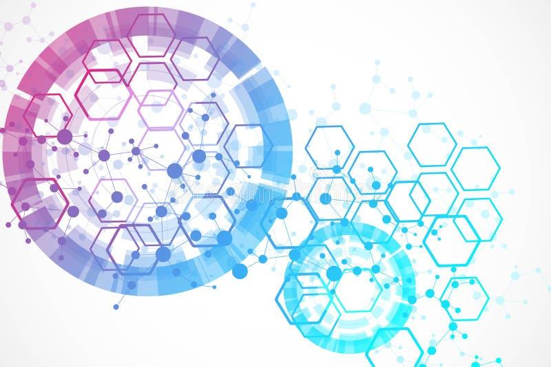 Fondo grande de la visualización de los datos Fondo abstracto virtual futurista moderno Modelo de la red de la ciencia, conectand stock de ilustración