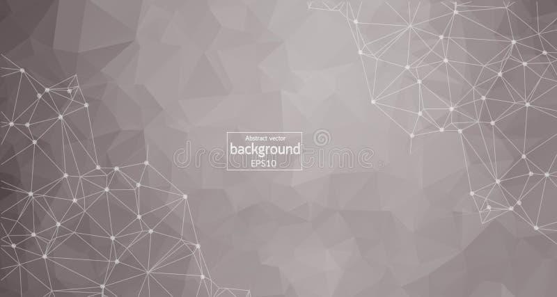 Fondo grigio chiaro basso dello spazio poligonale astratto poli con i punti e le linee di collegamento Struttura del collegamento illustrazione di stock