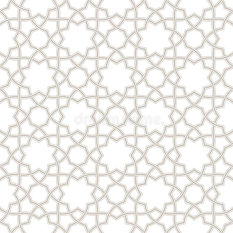 Fondo grigio chiaro floreale geometrico, modello arabo, illustrazione di stock