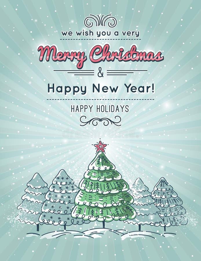 Fondo grigio con la foresta dell'albero di Natale illustrazione di stock
