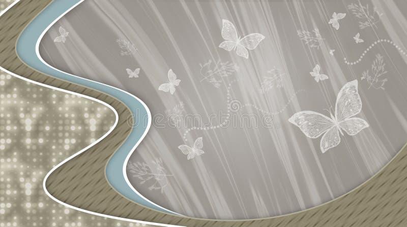Fondo grigio con le onde e la farfalla volante fotografia stock