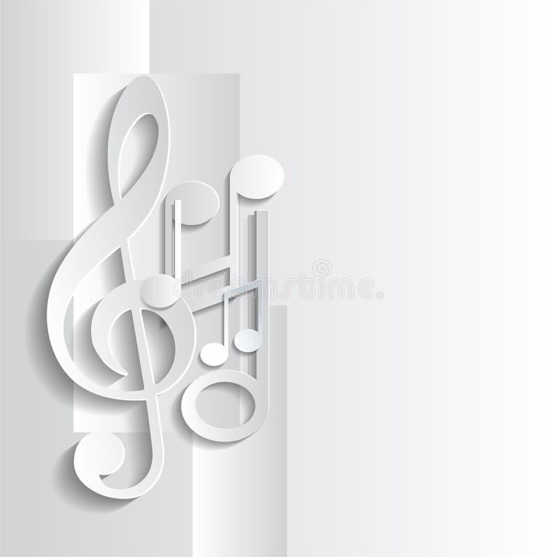Fondo grigio con musica illustrazione di stock