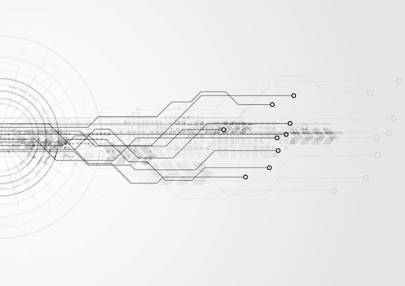 Fondo grigio del circuito di ciao-tecnologia illustrazione vettoriale