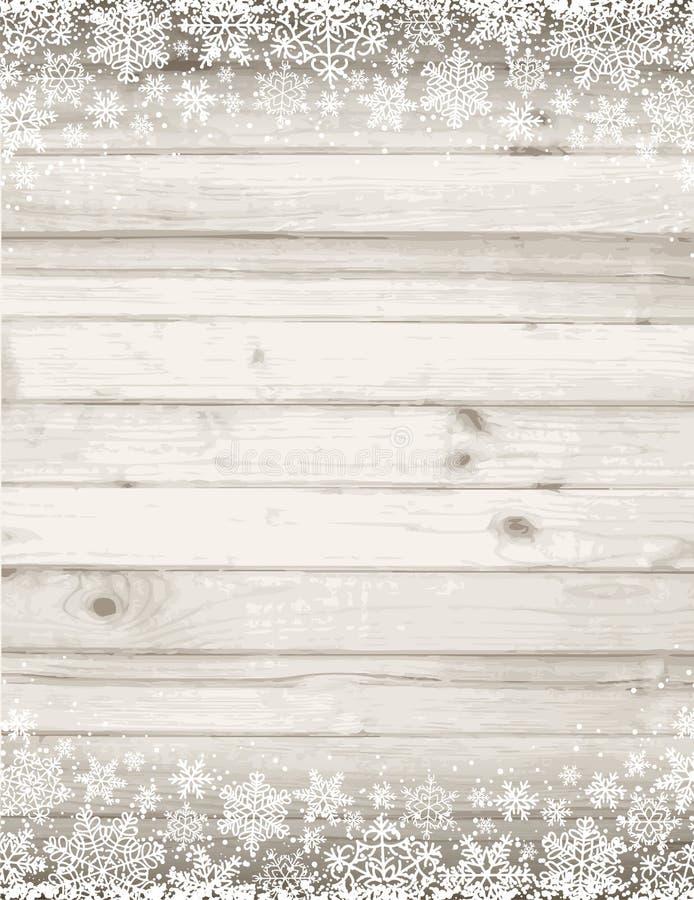 Fondo grigio di legno con i fiocchi di neve bianchi, vettore i di natale royalty illustrazione gratis
