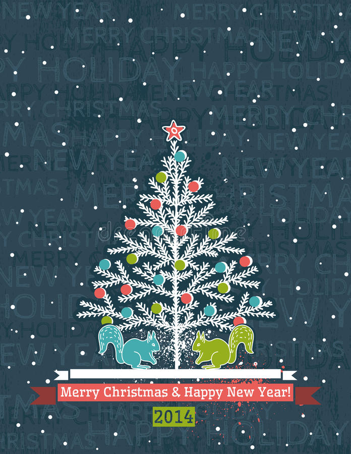 Fondo grigio di lerciume con l'albero di Natale ed il wis illustrazione vettoriale