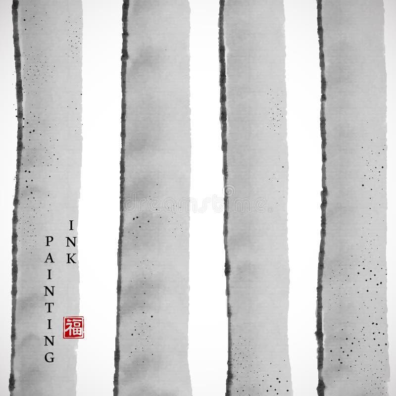 Fondo grigio elegante della striscia dell'illustrazione di struttura di vettore di arte della pittura dell'inchiostro dell'acquer illustrazione di stock