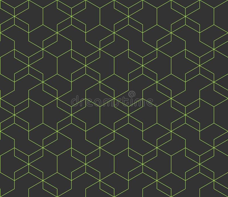 Fondo grigio scuro astratto con le linee d'intersezione verdi Forme geometriche semplici modello senza cuciture ripetitivo di vet illustrazione di stock