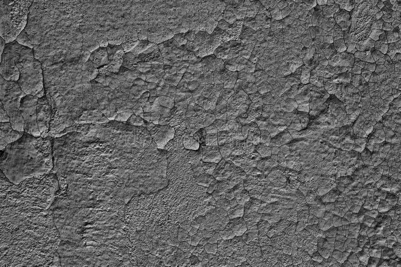 Fondo grigio scuro di lerciume del muro di cemento incrinato stagionato immagine stock