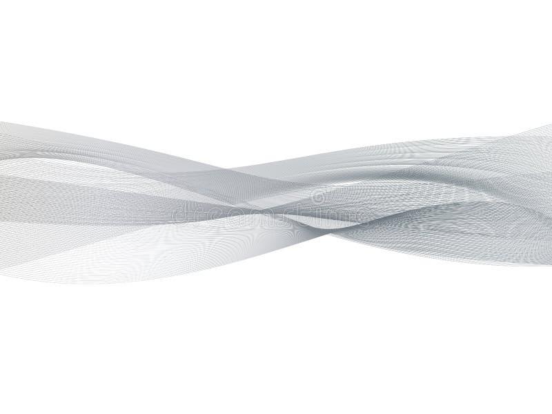 Fondo grigio trasparente astratto dell'onda Carta da parati dell'elemento di progettazione di effetto del fumo Vettore di progett illustrazione di stock
