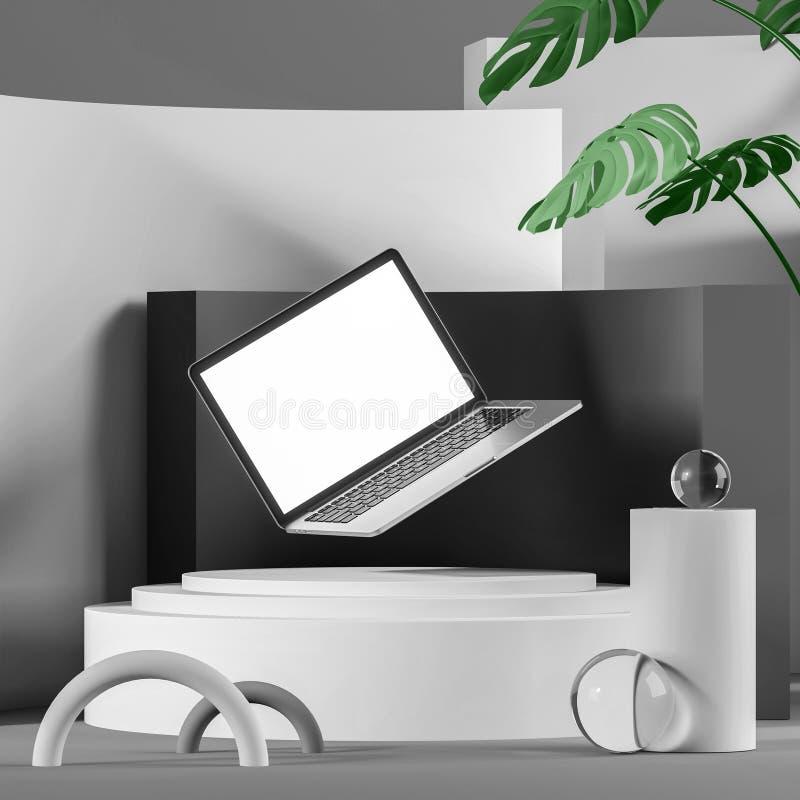 Fondo gris abstracto con el ordenador portátil flotante ilustración del vector