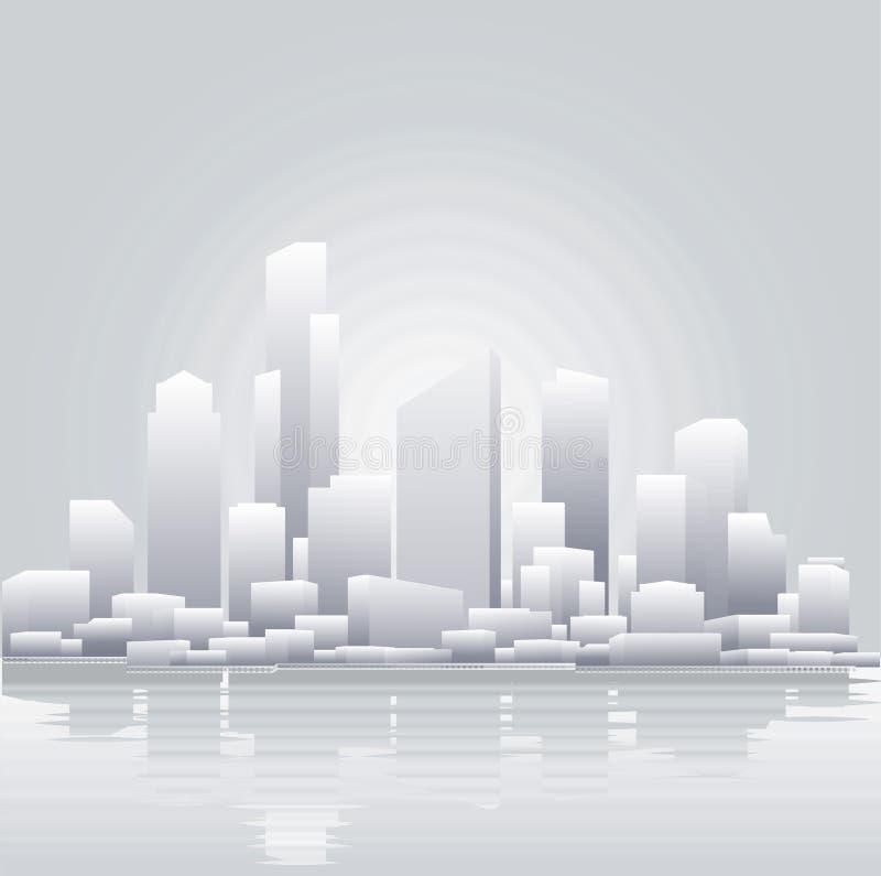 Fondo gris abstracto de la ciudad stock de ilustración