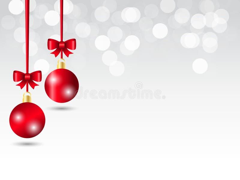 Fondo gris blanco de la Navidad del bokeh de la pendiente Bola decorativa roja colgante dos con la cinta roja stock de ilustración