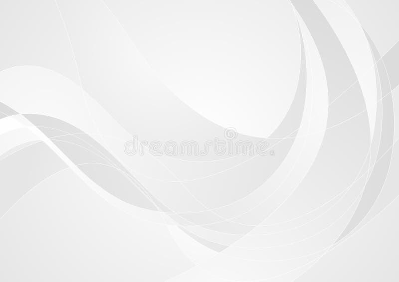 Fondo gris claro abstracto de las ondas ilustración del vector